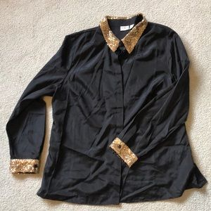 NWOT Black Button-Up Blouse with Gold Sequin Neck